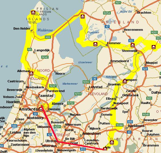 Our Netherlands tour route.  The last bit (in red) was by train.<br>Netherlands, Maps ; 2000